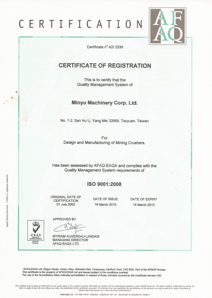 Minyu ISO 9001:2008 Certification